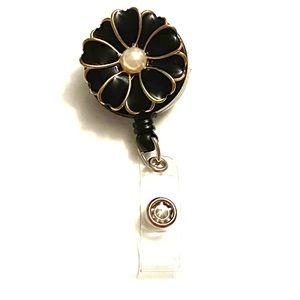 Badge Reel Black Pearl flower work ID